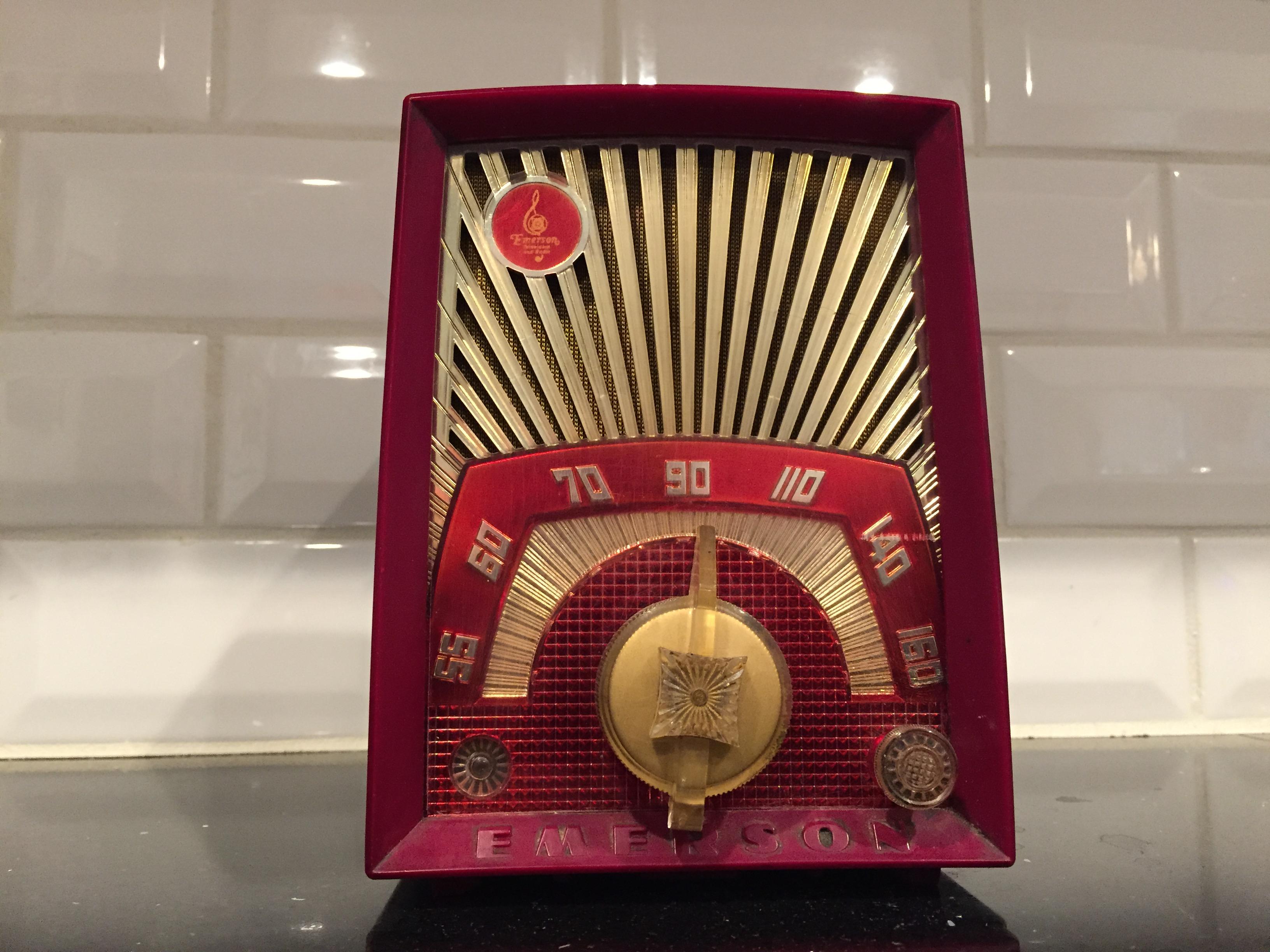 Emerson Sunburst AM radio, circa 1950s (Photo by J. Schafer)