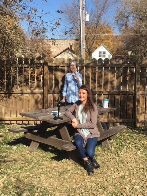 Kaye McIntyre interviewing Volunteer and Donation Coordinator Adrina Beltran of Manhattan Emergency Shelter