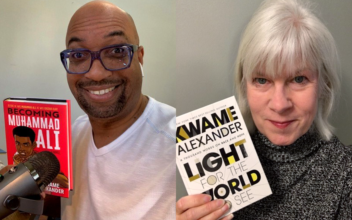 Image shows Kwame Alexander with book, Kaye McIntyre with book