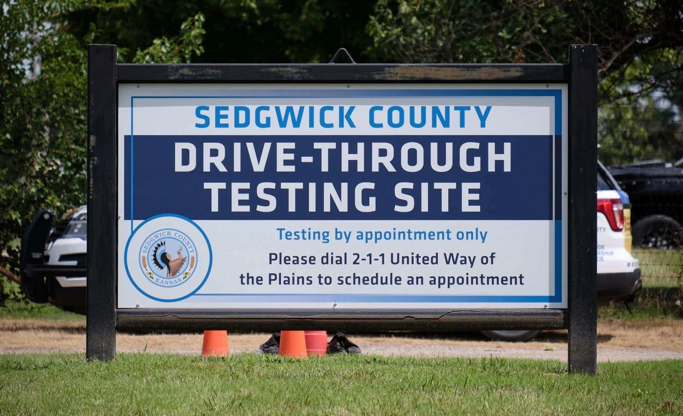 A drive-through coronavirus testing center in Wichita. (Photo by Brian Grimmett, Kansas News Service)