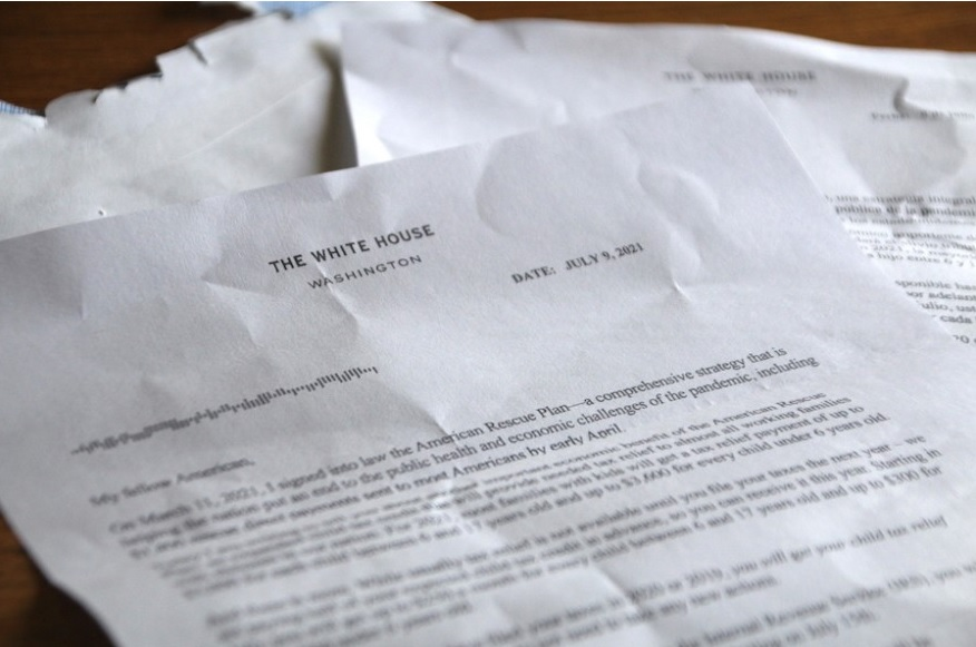 The White House mailed a letter explaining the advance child tax credit to families who would receive it, but it's only in English and Spanish. (Photo by David Condos, Kansas News Service)