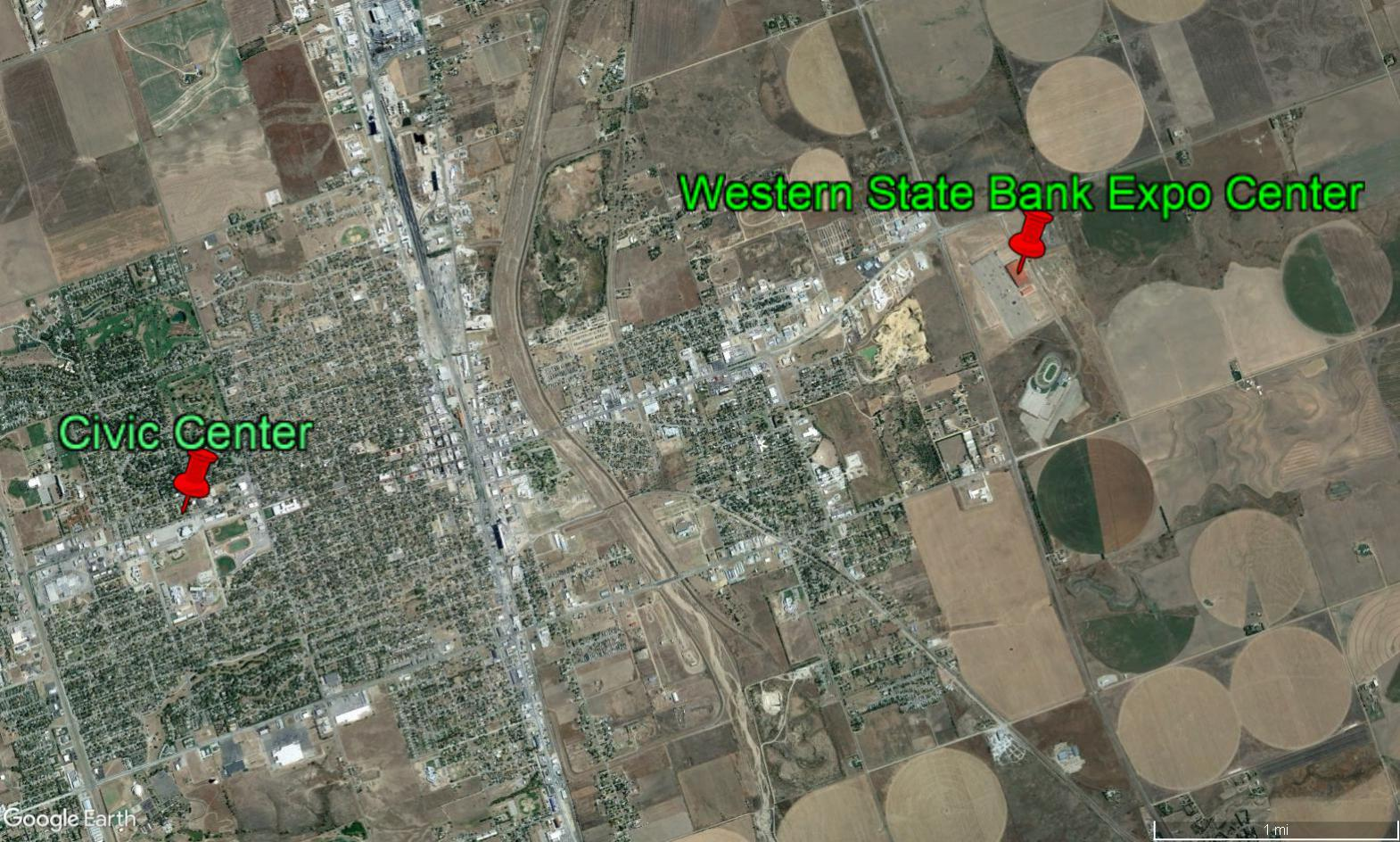 The Ford County clerk moved Dodge City's lone polling place from the more central civic center to the Western State Bank Expo Center on the edge of town. (Photo from Google Earth)