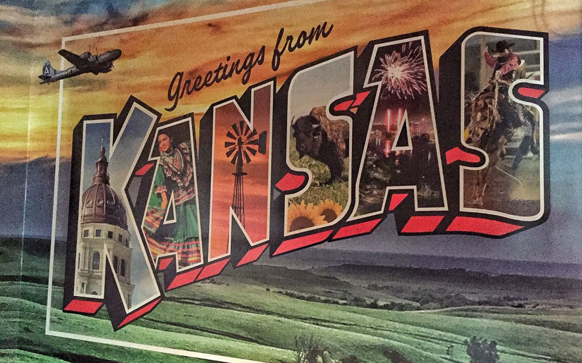 Sign at the entrance to an exhibit at the Kansas Museum of History in Topeka. (Photo by J. Schafer)