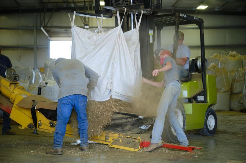 Workers at Shining Star Hemp Co. near Pratt load a bag of hemp biomass into the processor. (Photo by Brian Grimmett, Kansas News Service)