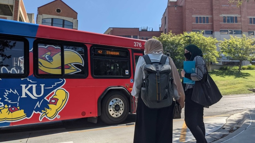 A bus on the KU campus, where an allegation of sexual assault sparked protests at a fraternity. (Photo by Abigail Censky, Kansas News Service)