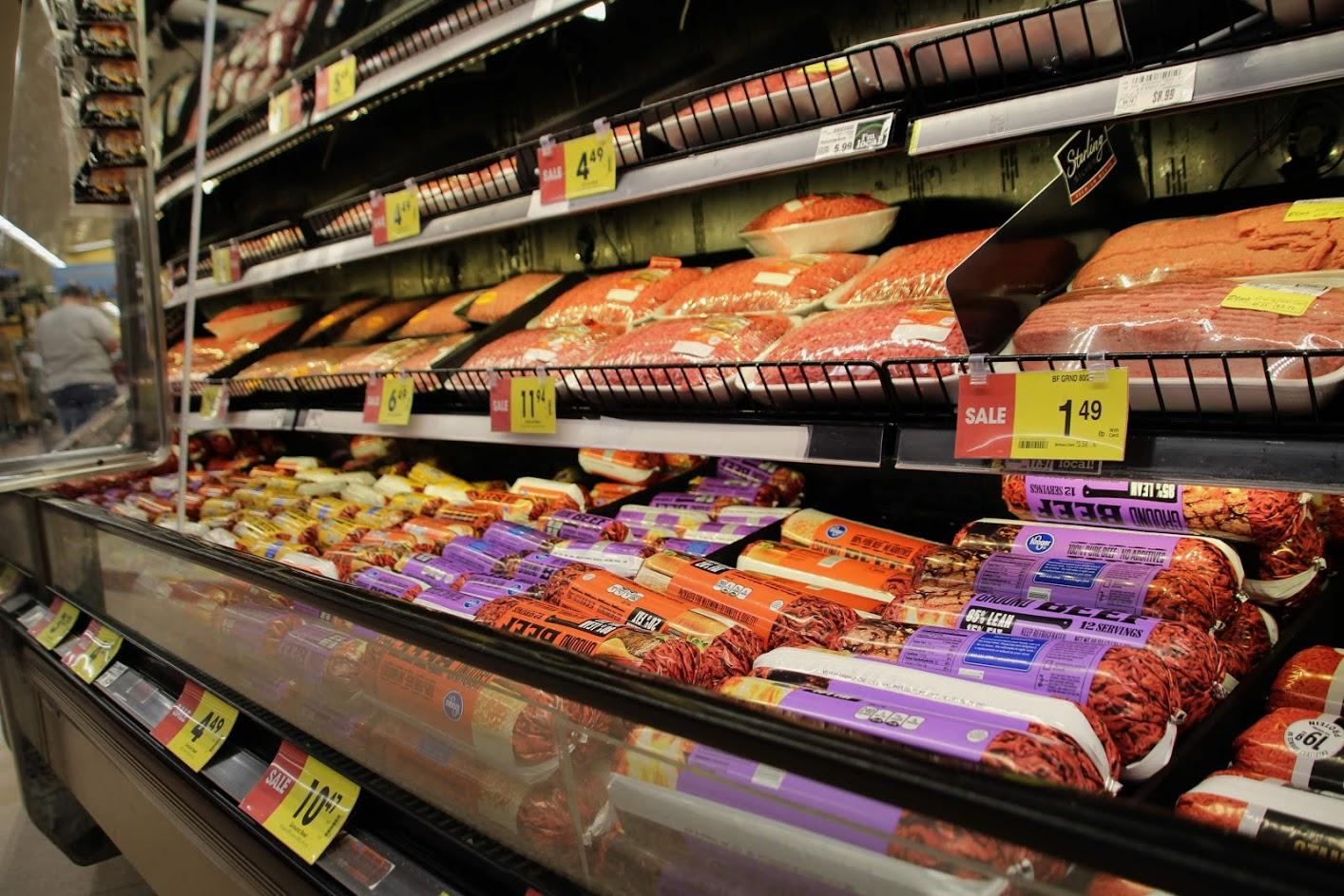 Meat on sale at a grocery store in Garden City.  Four large meatpacking plants employ thousands of workers in southwest Kansas. (Photo by Corinne Boyer, Kansas News Service)
