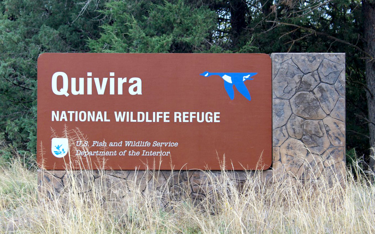 Sign at southern entrance to Quivira National Wildlife Refuge near Stafford, in central Kansas. (Photo by J. Schafer)