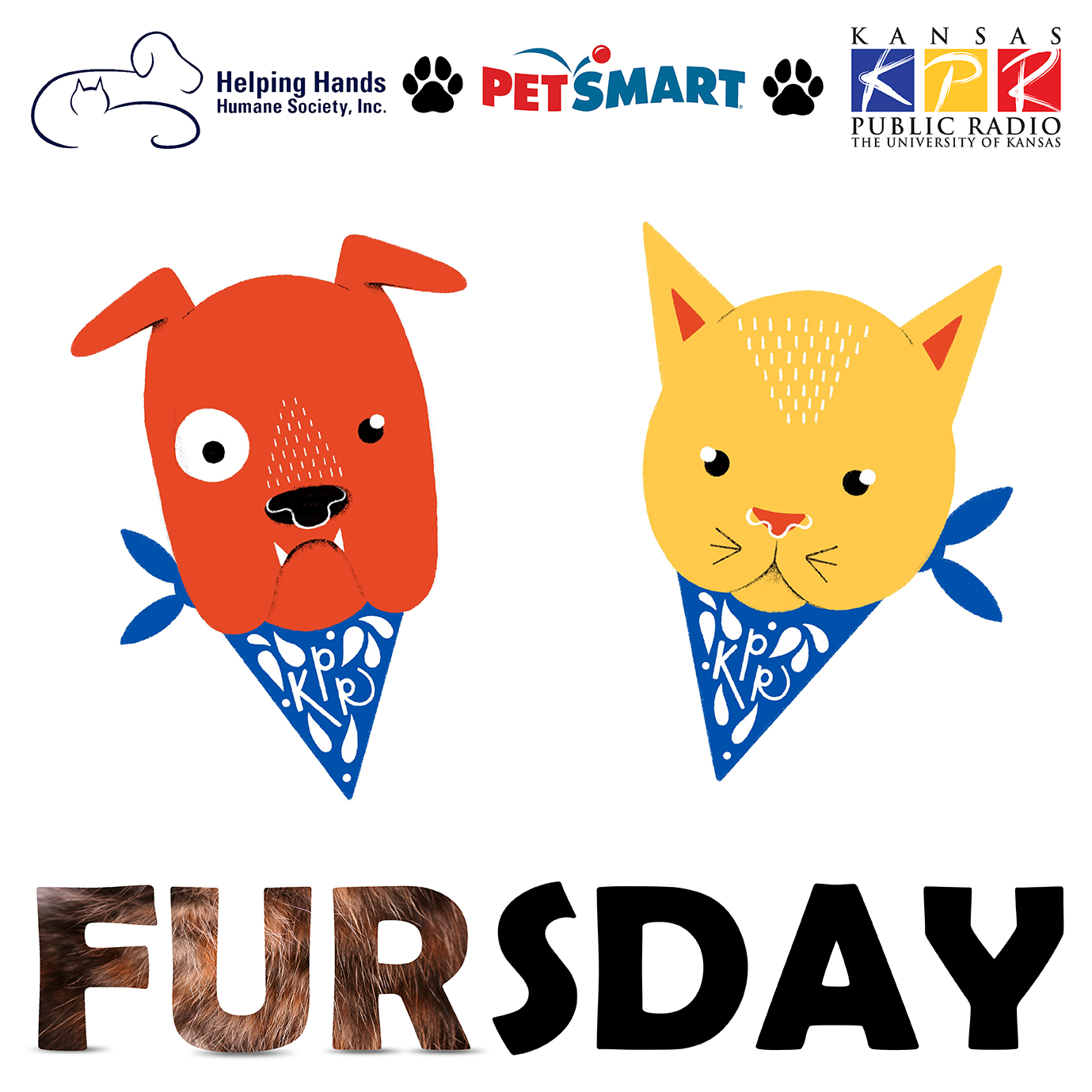 Donate $60 (or $5/mo) or more on Fursday, Thursday, 4/15, to get these custom KPR dog & cat stickers designed by KPR Intern, Emily Fisher.