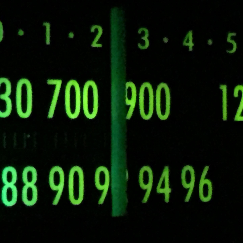 Illuminated radio dial (Photo by J. Schafer)