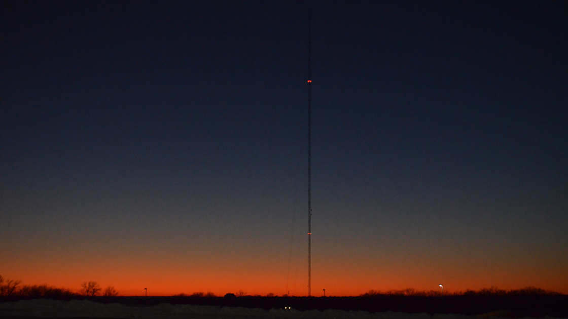 The KPR tower on the KU campus, where the transmitter is located.
