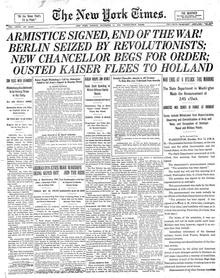 Front page of The New York Times on 11 November 1918 (public domain; via Wikimedia Commons)