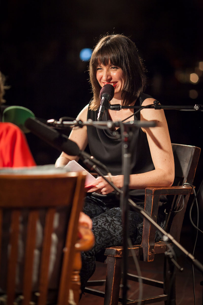 Host Ophira Eisenberg onstage at The Bell House, Brooklyn, NY. (Photo by Steve McFarland)