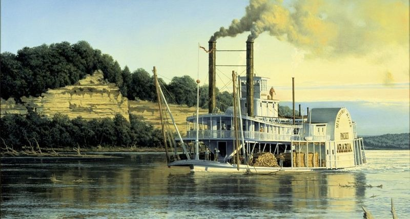 Depcition of the steamboat Arabia on the Missouri River