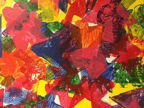 """This colorful work titled """"Euphoria,"""" by Lawrence artist Renae Polacca, now proudly hangs in KPR News Director J. Schafer's office."""