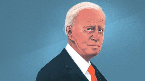 Illustration of President Biden. Credit: Chelsea Beck for NPR