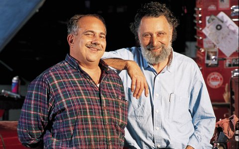 """Ray Magliozzi, left, and his brother, the late Tom Magliozzi, hosts of NPR's """"Car Talk."""" (Photo Credit: Richard Howard)"""