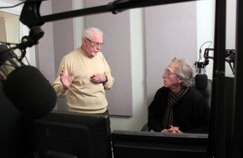Dr. Don Potts (left) discussing his Louis Armstrong interview with KPR's David Basse. (Photo by Joanna Fewins)