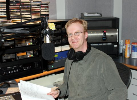 Michael Keelan on his first official day in the KPR classical host's chair. (Photo by Phil Wilke)