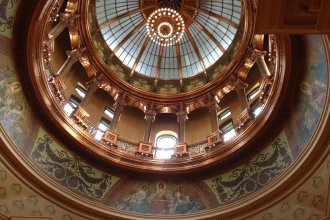 Inside the rotunda, under the Kansas capitol dome (Photo by J. Schafer)