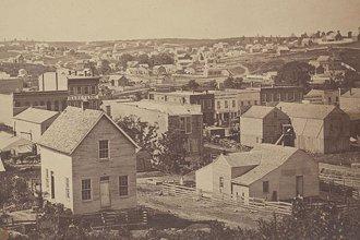 A view, taken sometime around 1860, looking southwest in Atchison, Kansas Territory. (Photo Courtesy of Kansas Historical Society/kansasmemory.org)