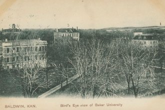 This is a postcard with a bird's eye view of Baker University in Baldwin City, Kansas. The postcard was addressed to Miss Laura Wolverton in Batavia, Illinois, April 12, 1909. (Photo via Kansas Historical Society / kansasmemory.org)