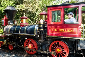 Engine No. 1 on the Disneyland Railroad named after the Kansan who founded the Santa Fe Railroad.