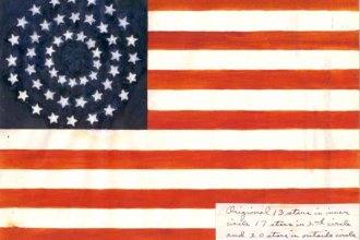 An interested citizen provided this possible redesign for the 50-star flag, once Alaska and Hawaii were officially made states. (Image via the Eisenhower Presidential Library Archives)
