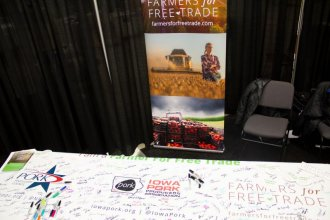 At the 2018 Iowa Pork Congress in Des Moines, Farmers for Free Trade invited farmers to show their support for trade deals. (Photo via Amy Mayer, Harvest Public Media file photo)
