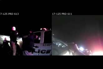 Police footage from when Matt Holmes was fatally shot by Newton police in 2017. (Photo courtesy of Loevy & Loevy law firm)