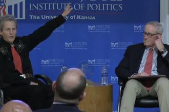 Dr. Temple Grandin and Bill Lacy, Dole Institute backdrop