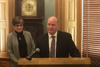Kansas Governor Laura Kelly appointed K.J. Wall to the state Supreme Court at a news conference Wednesday. (Photo by Nomin Ujiyediin, Kansas News Service)