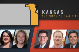 From left to right: Democrats Michelle De La Isla and James Windholz; Republicans Jake LaTurner, Steve Watkins and Dennis Taylor. (Illustration by Crysta Henthorne, KCUR)