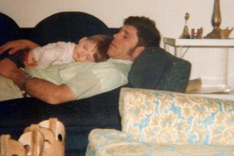 Courtney Farr sleeps on his father's chest when he was a young boy, in 1979. (Photo submitted by Courtney Farr)