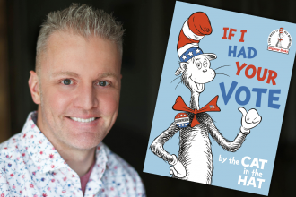 """Photo of Alastair Heim with """"If I Had Your Vote"""" book image"""