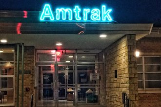 Amtrak's Southwest Chief passes through this train station in Lawrence, carrying passengers between Chicago and Los Angeles.  (Photo by J. Schafer)