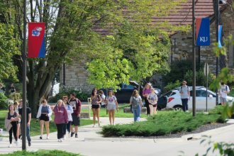 At the University of Kansas, the state's flagship institution, enrollment has dropped 5% over the past five years. (Photo by Carlos Moreno, KCUR)