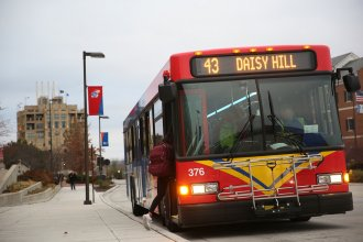 A bus on the University of Kansas campus. (Photo by Nomin Ujiyediin, Kansas News Service)