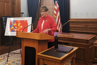 There's confusion over whether Governor Laura Kelly has the authority to issue new pandemic restrictions after a Johnson County judge ruled a law that took away some of her powers was unenforceable. Kelly did not issue a mask mandate on Wednesday. (Photo by Abigail Censky, Kansas News Service)