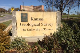 Entrance sign to the Kansas Geological Survey at the University of Kansas (Photo by J. Schafer)