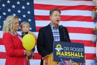 U.S. Rep. Roger Marshall campaigns in 2019 for the Republican nomination for a U.S. Senate seat. (Photo by Stephan Bisaha, Kansas News Service)