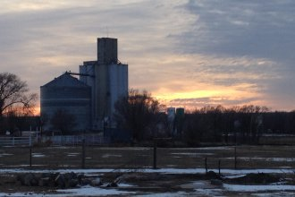 Grain elevator near Here, Kansas. (Photo by Barney Barnhill)