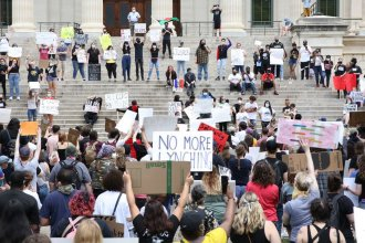 A rally in Topeka over the weekend. (Photo by Nomin Ujiyediin)