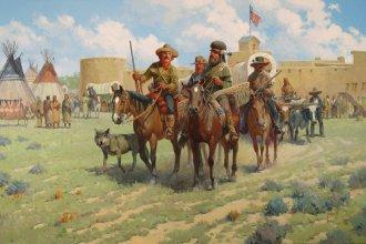 Traders along the Santa Fe Trail, leaving Bent's Fort (circa 1840).
