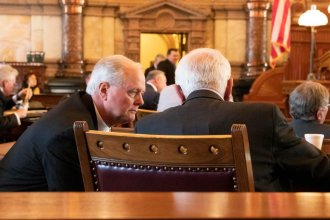 Republican Sen. Gene Suellentrop, left, will chair hearings on a compromise Medicaid expansion plan starting this week. (Photo by Daniel Caudill, Kansas News Service)