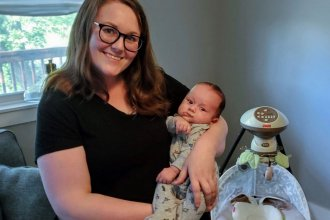 Silver Lake teacher Michelle Taylor shows off her young son, Jack. (Photo by Stephen Koranda, Kansas News Service)
