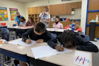 Wichita students were required to wear masks at summer school programs. Masks are now optional for all students, teachers and visitors. (Photo by Suzanne Perez, KMUW)