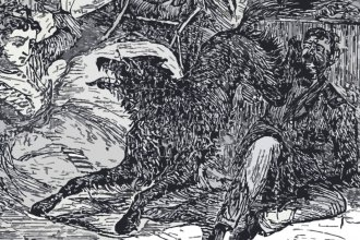 A woodcut image of the rabid wolf during its attack on Lt. Thompson in Fort Larned on August 5, 1868. (Public Domain)