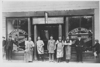 Hyer Brothers Shoe and Boot Shop, Olathe, Kansas, circa 1880s (Photo from Johnson County Museum)
