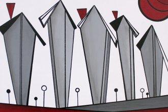 """""""Three Red Chimneys"""" by Janey Greene"""