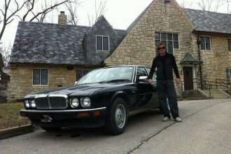 Chuck stands with his 1990 Jaguar XJS in front of the Max Kade building, right behind KPR.